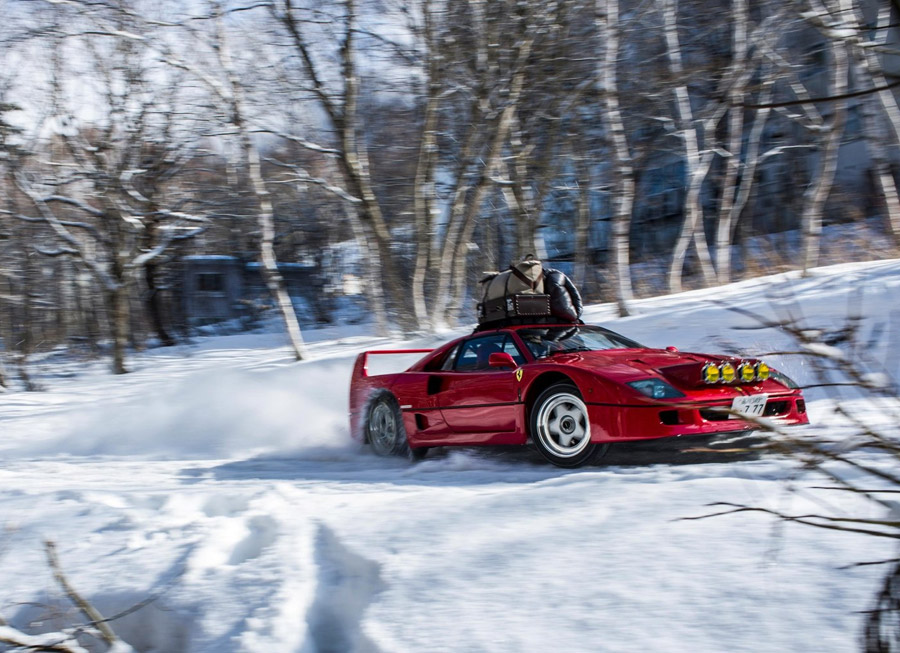 Red Bull takes a Ferrari F40 rallying in the snow… because it can