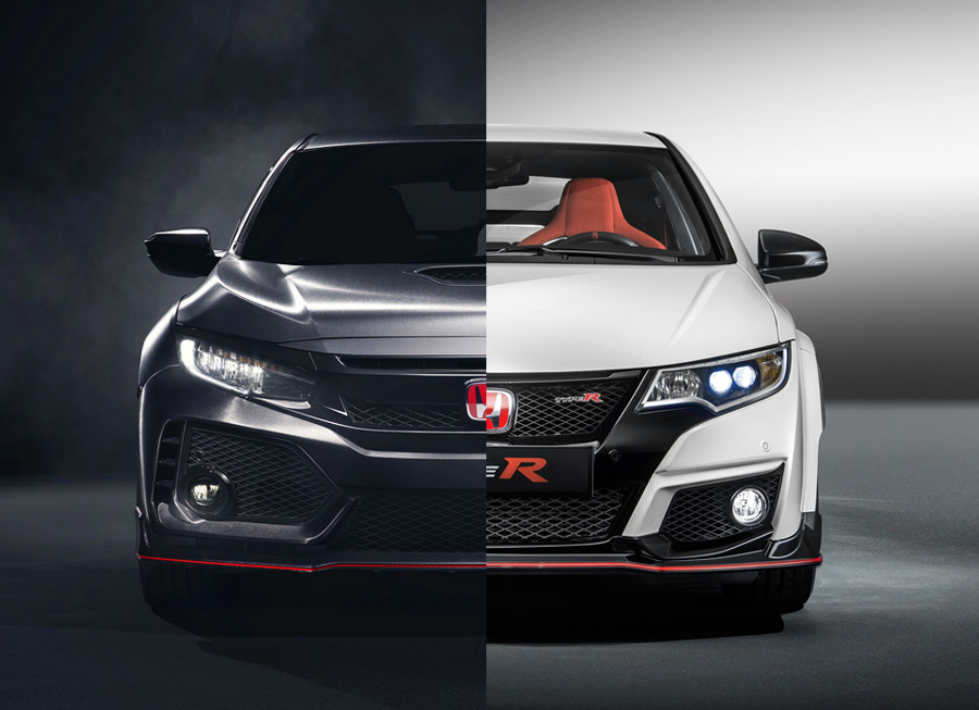 5 side-by-side images of the 9th vs 10th gen Honda Civic Type R