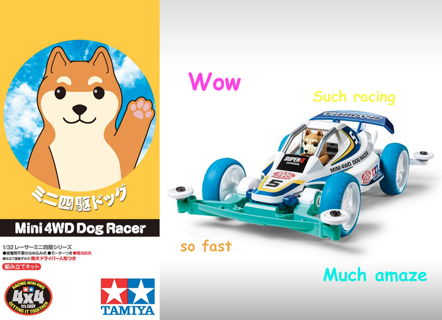 Wow. There's a Shiba Inu driving Tamiya's newly-released Mini 4WD