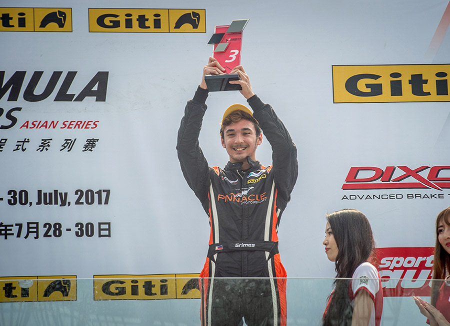 Ben Grimes lands his first Formula Masters Series podium finish in Zhuhai