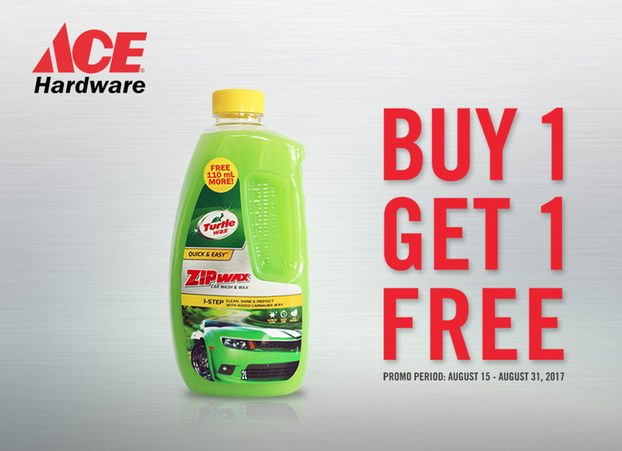 Turtle Wax's 2L Zip Wax car wash is on Buy 1, Get 1 FREE from Ace Hardware