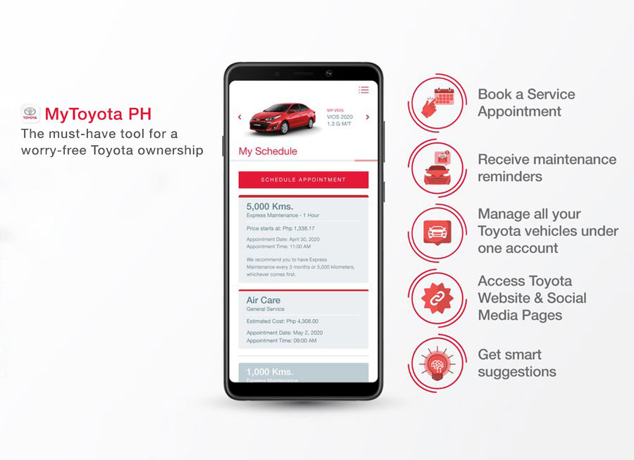 Toyota owners can now book service appointments online via MyToyota.PH