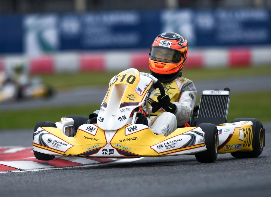 Strong form at Lonato earns Zach David 7th at FIA Karting Academy finale